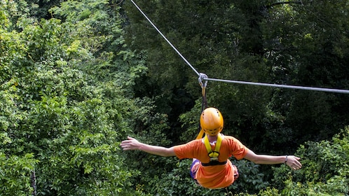 From the back, a zipliner with outstretched arms rides one of the lines