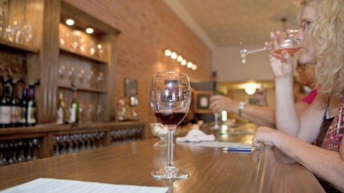 Woman enjoying the Fox River Valley Wine Tasting Room Tour in Chicago