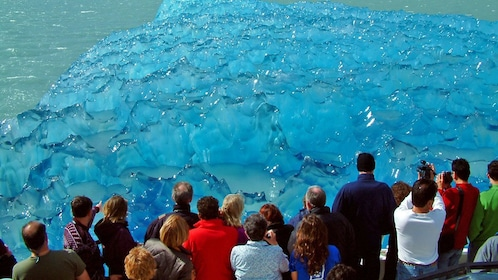 Tour group admiring the glaciers on Argentino Lake