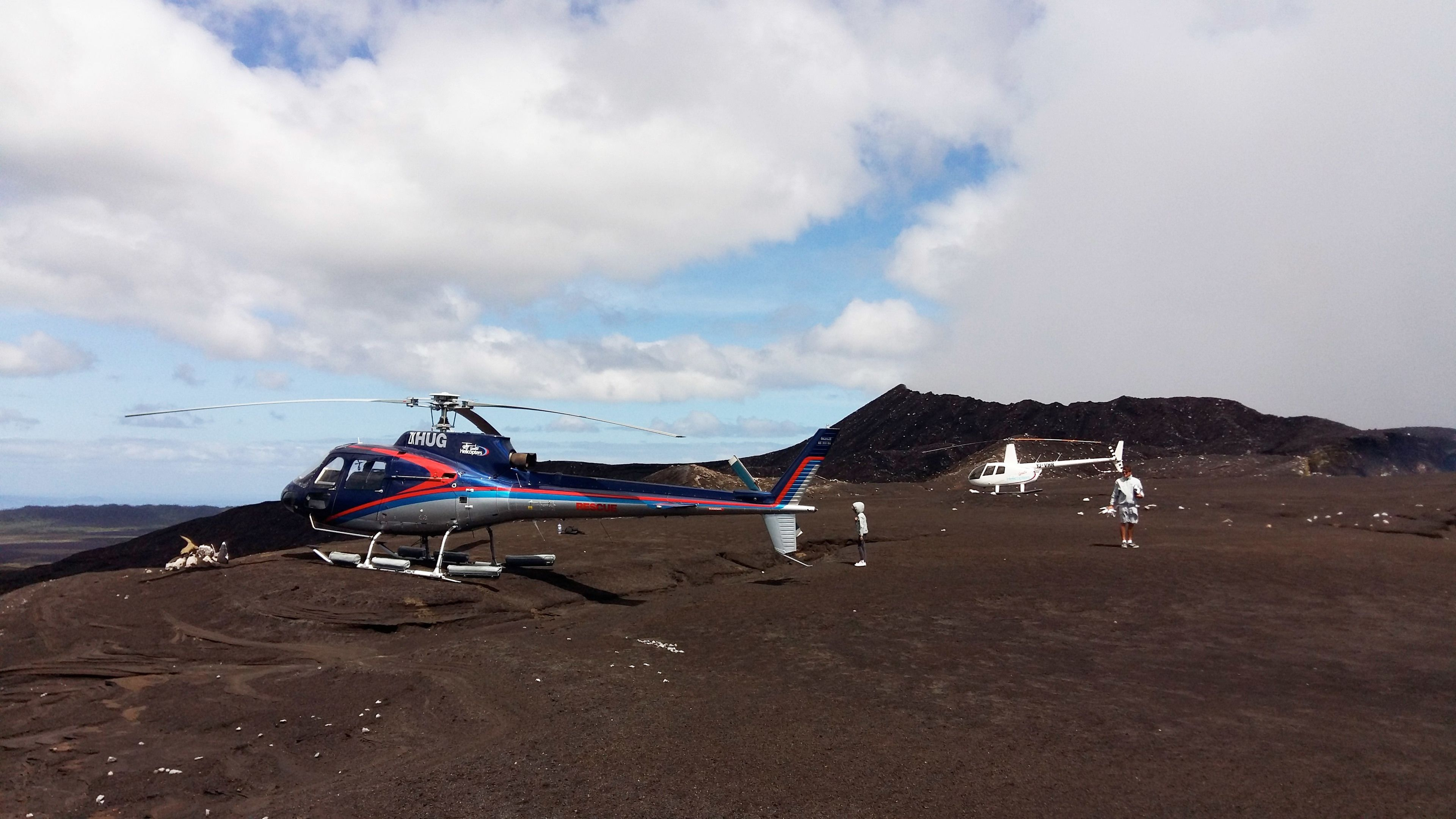Helicopters about to go on a flight over the explosive Vanuatu archipelago