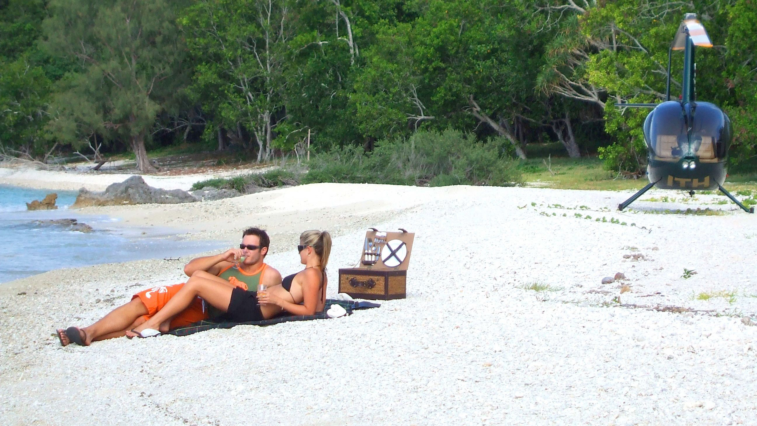 Couple enjoying some time in the sun on Vanuatu