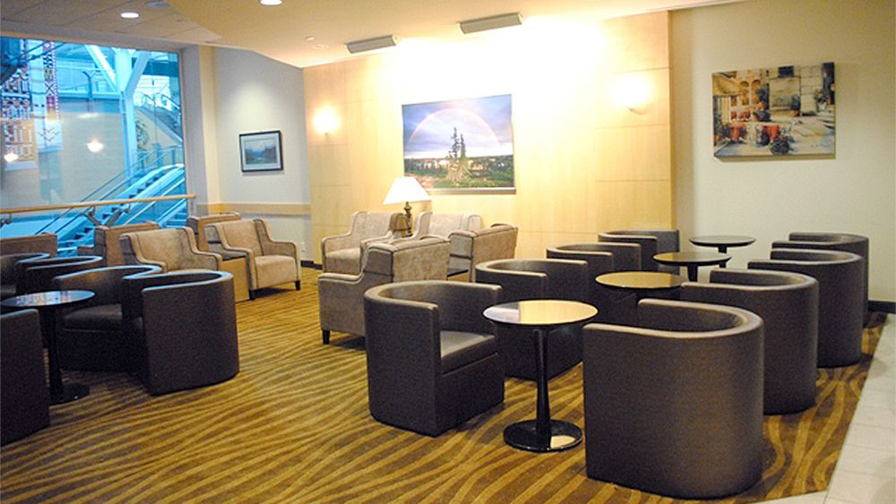 Extensive seating area inside the Plaza Premium Lounge at Vancouver International Airport
