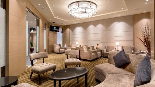 Seating area inside the Plaza Premium Lounge at Vancouver International Airport