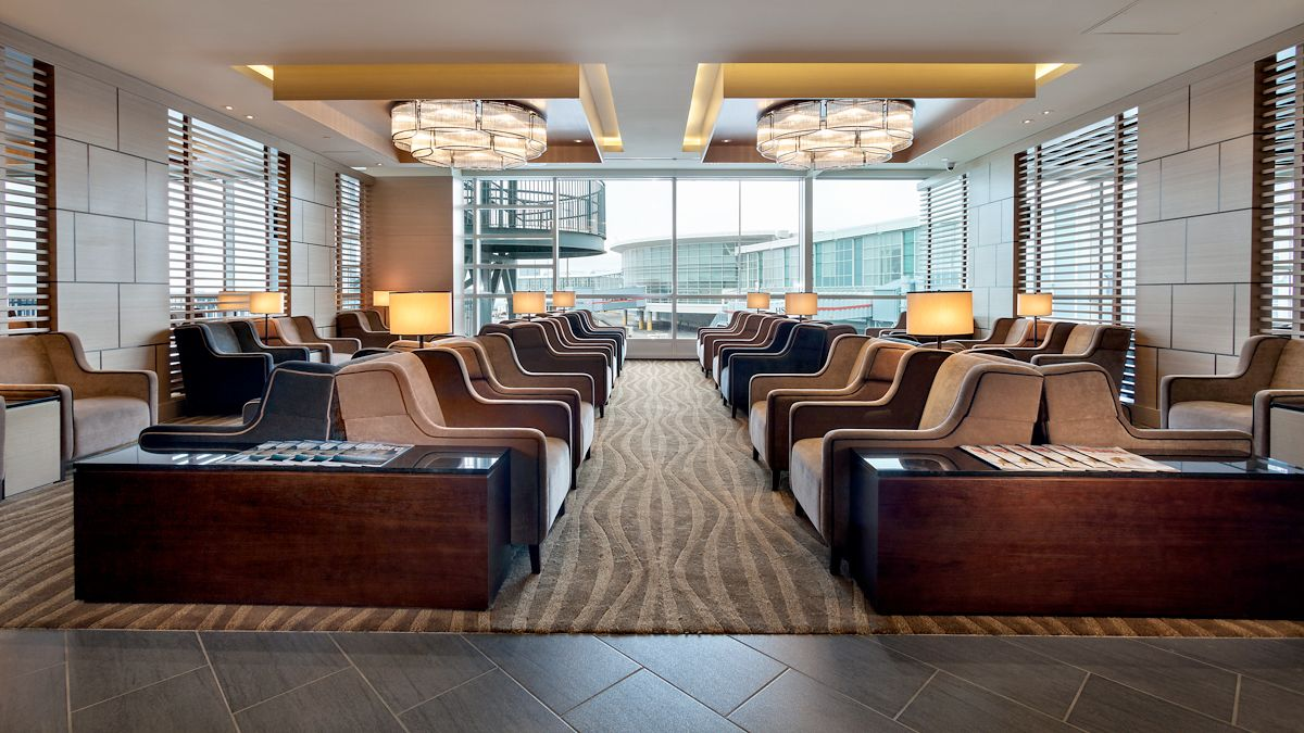 Panoramic view inside the Plaza Premium Lounge at Vancouver International Airport