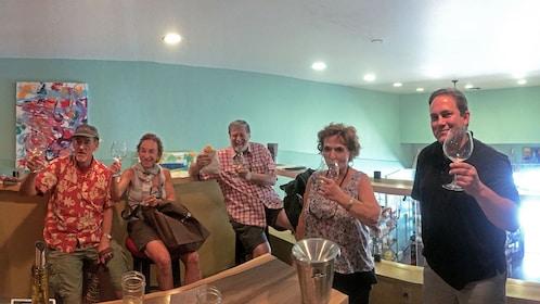 Group enjoying wine on the Taste Santa Barbara Food Tours