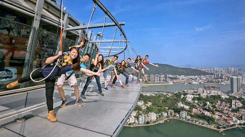 Group enjoying the Skywalk at Macau Tower