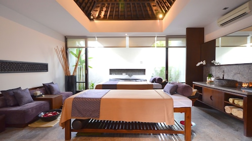 View of the massage beds at the Amala in Bali