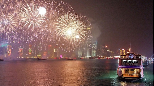 spectating fireworks from the cruise in Hong Kong