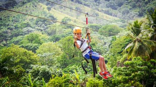Person glides on zip line though jungle canopy