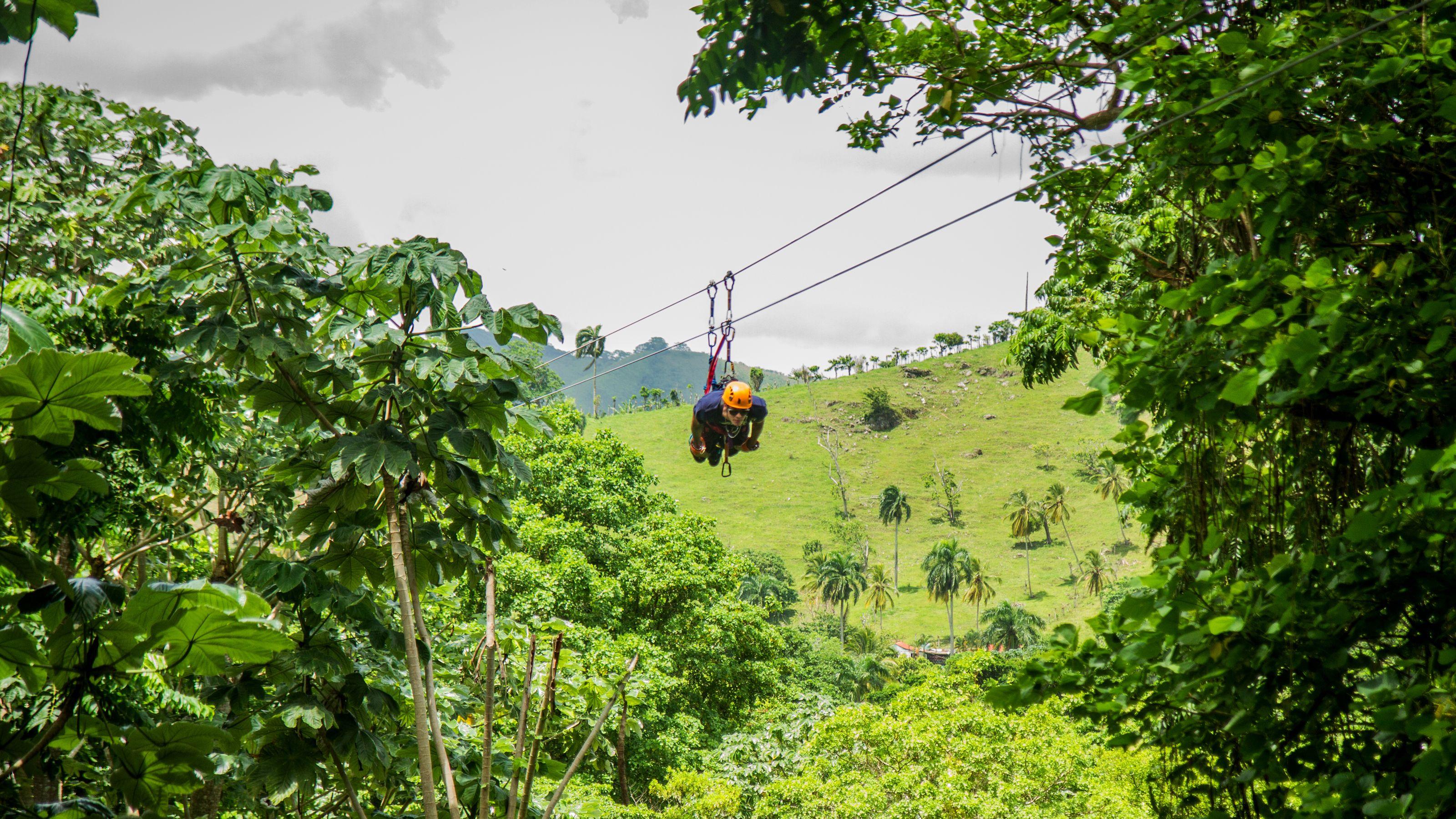 swinging in harness in Punta Cana