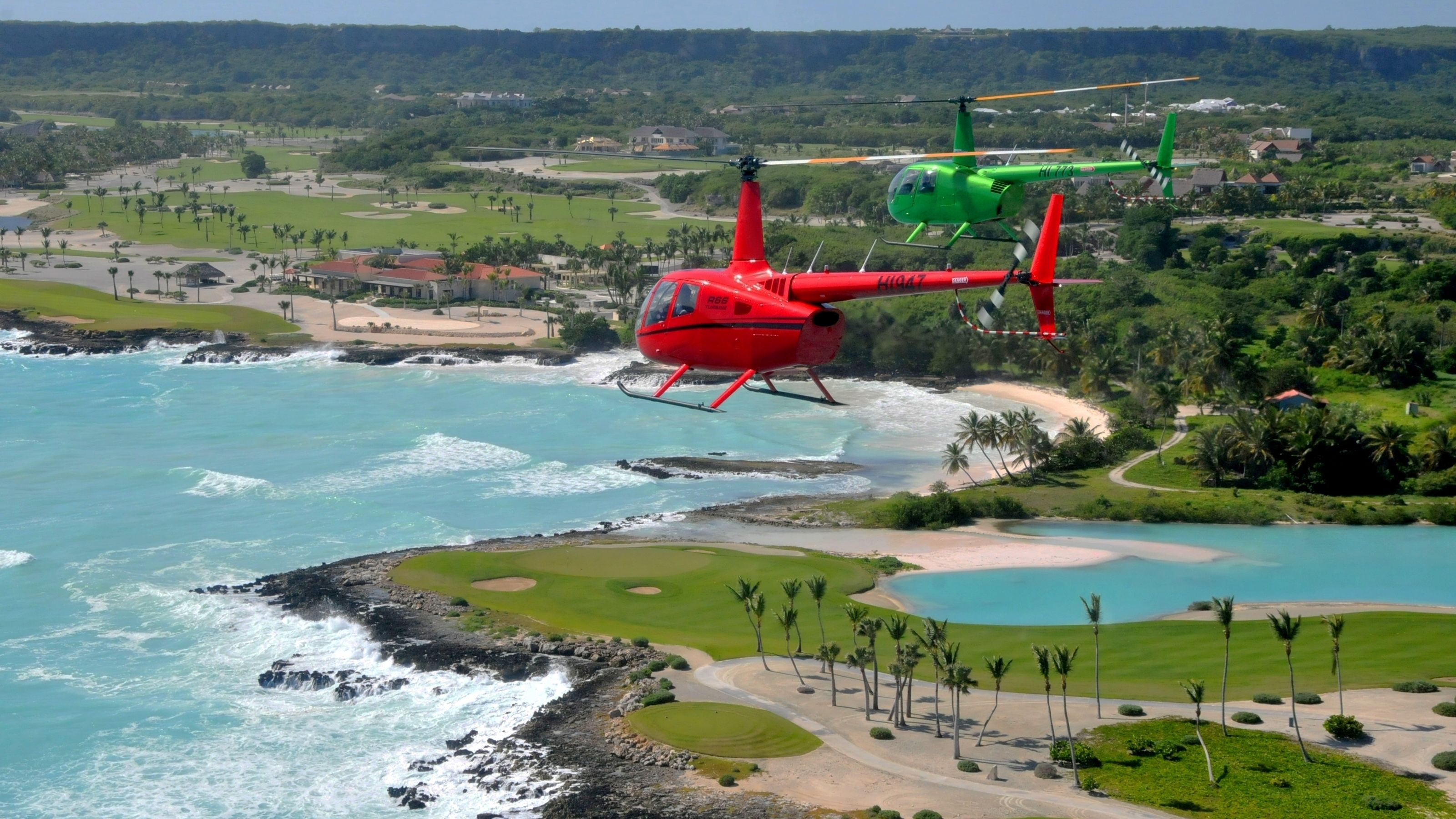 Helicopters over coast in Punta Cana