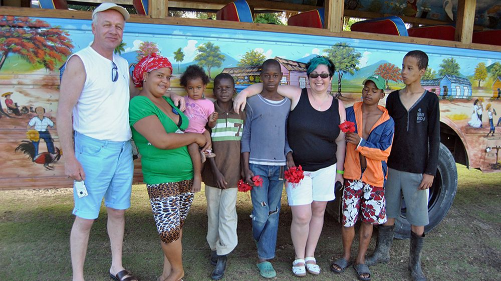 Group near painted bus in Punta Cana