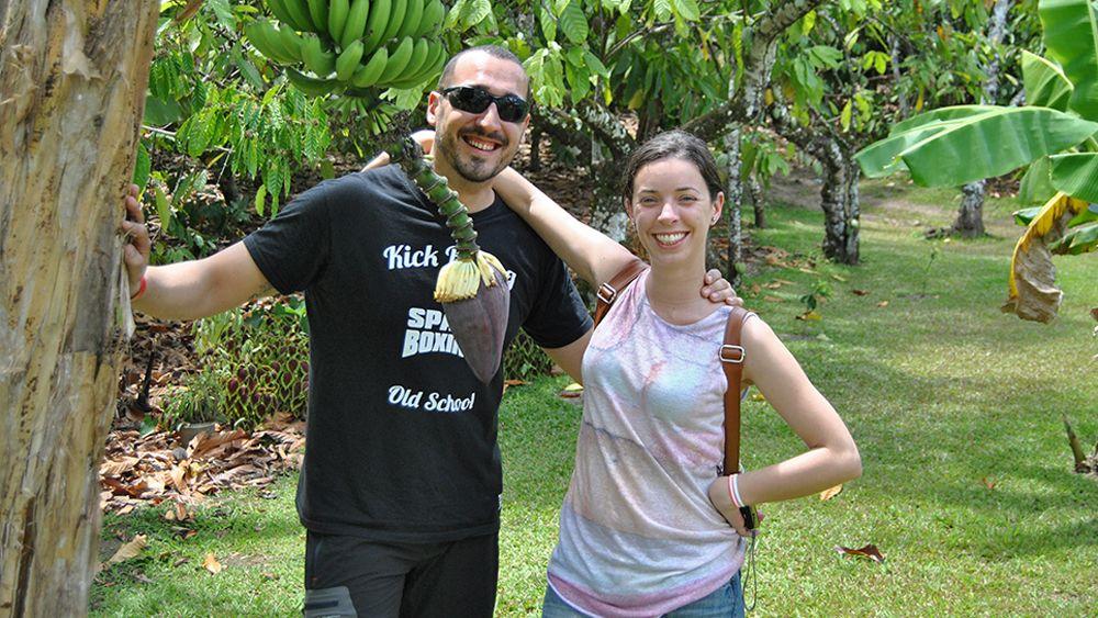 Friends near banana tree in Punta Cana