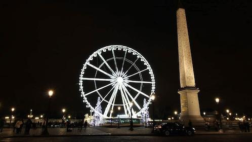 Ferris wheel on the Place de la Concorde at night in Paris