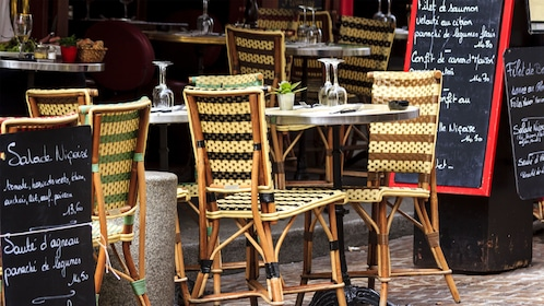 Outdoor seating at a cafe in Paris