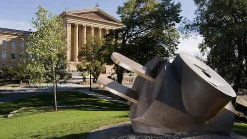 Sculpture of an electrical plug out side the Philadelphia Museum of Art