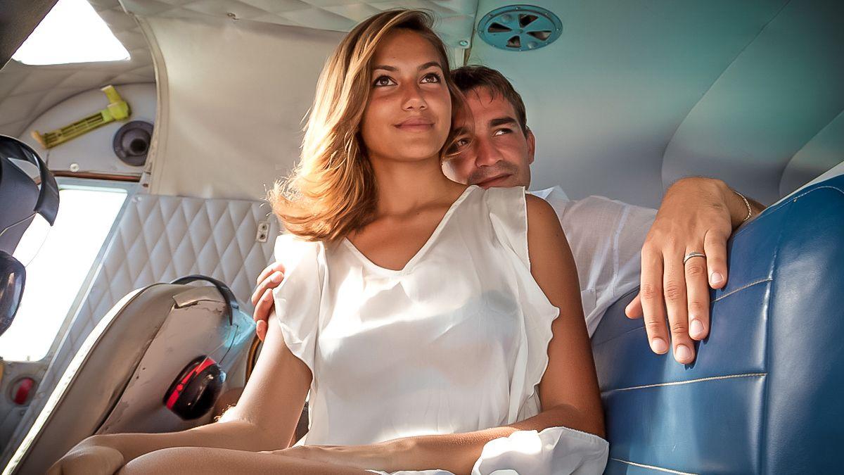 couple inside of plane in Fiji