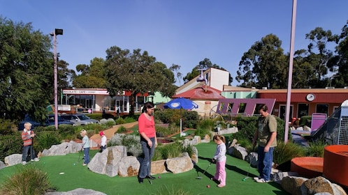 mini golf course with family