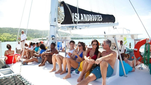 A group of people on a catamaran in Jamaica