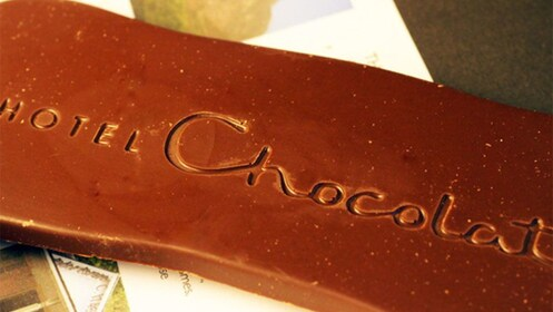 an unwrapped bar of hotel chocolate in Saint Lucia