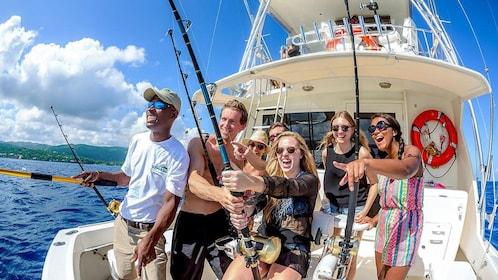 Group having fun Deep Sea Sport Fishing in St. Lucia