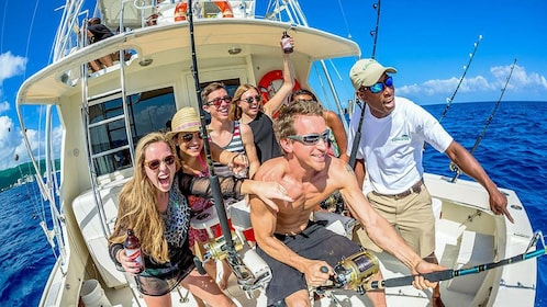 View of guests on the Deep Sea Sport Fishing in St. Lucia