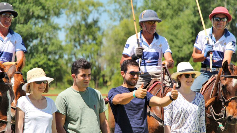 Close up view of the group on the Argentina Polo Day tour in Argentina
