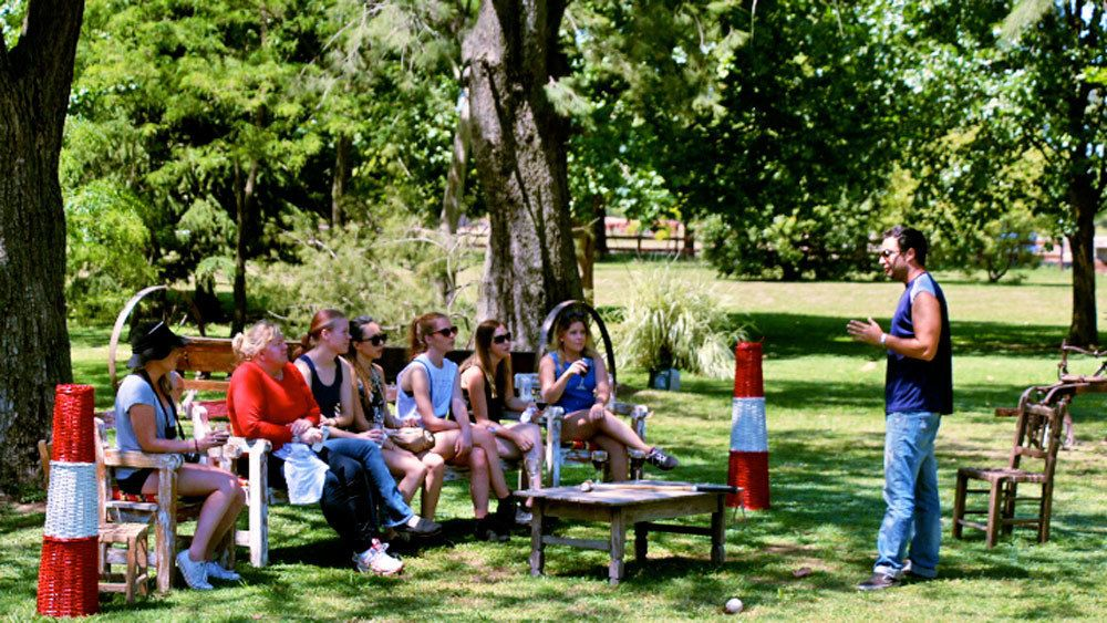 Tour guide talking to the group on the Argentina Polo Day tour in Argentina