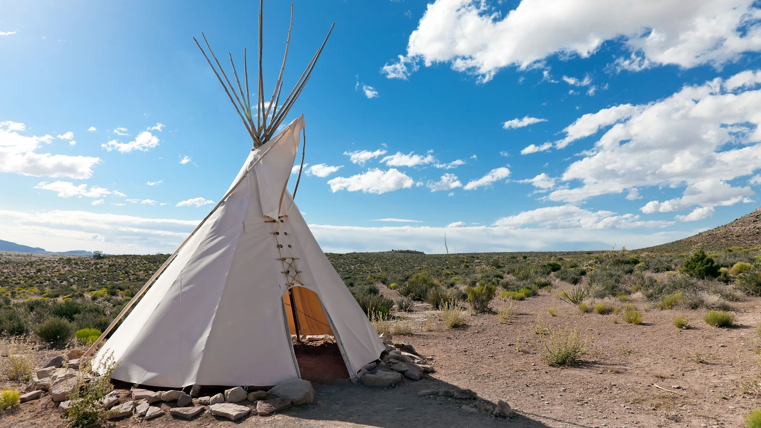 Tent seen on a sunny day in the Hualapai Indian Country