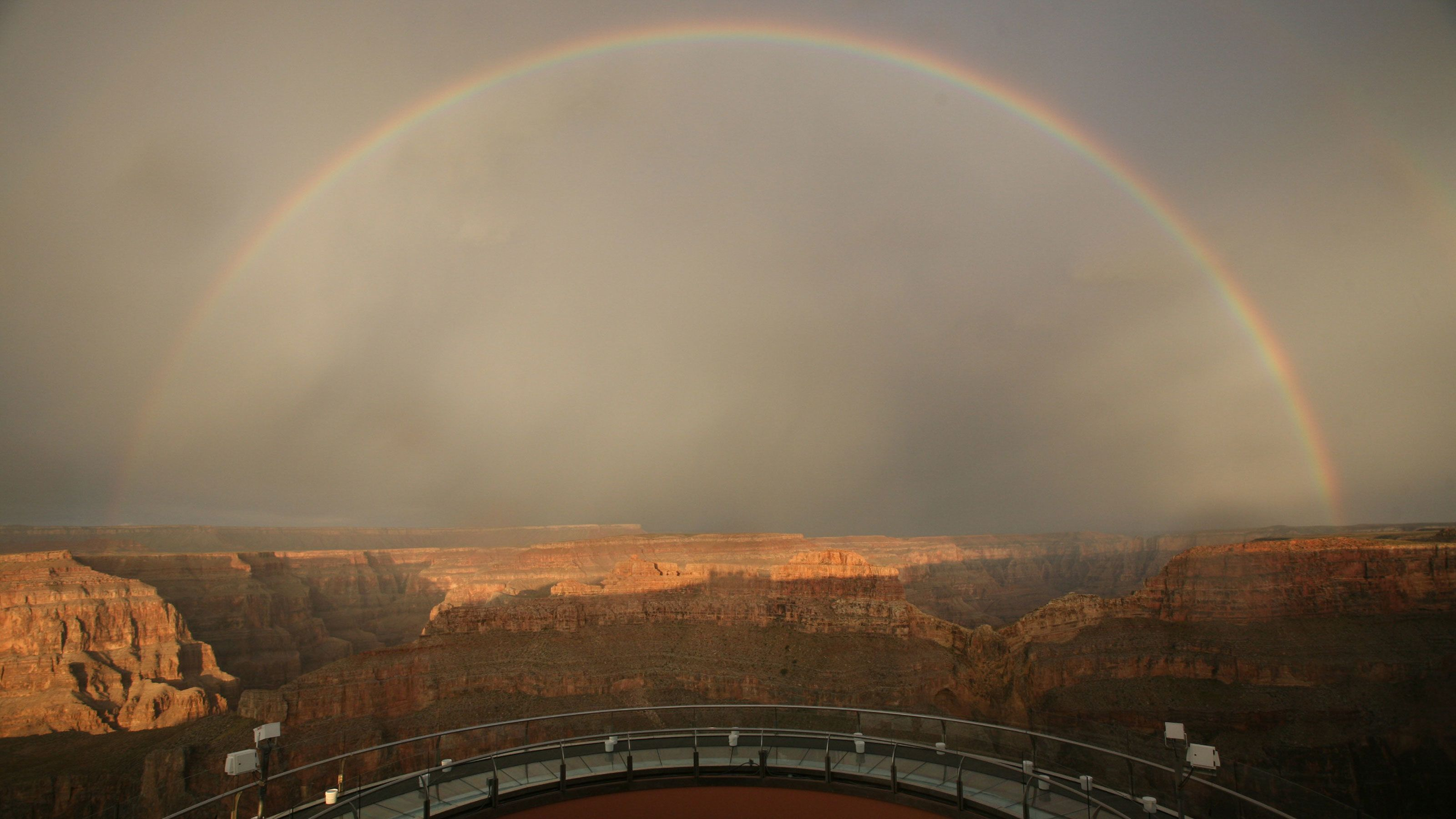 Rainbow across the Grand Canyon West Rim