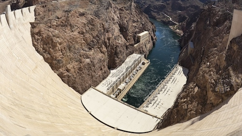 Looking down into the Colorado river as it runs into Hoover Dam