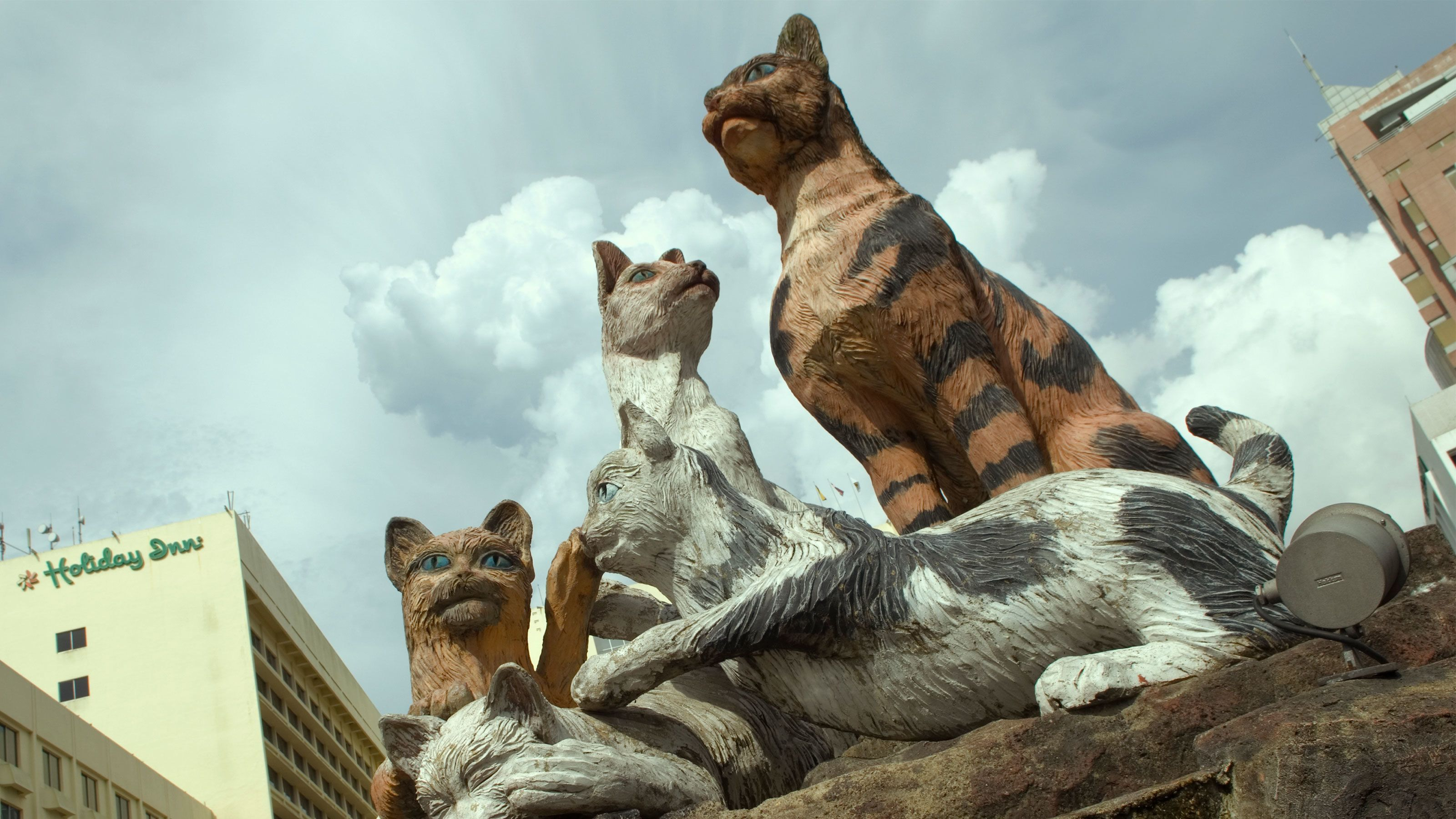 Cute cat statues seen on the Kuching City Tour in Malaysia