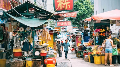View of the street markets in Hong Kong