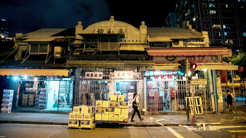 Street view of some stores in Kowloon Hong Kong