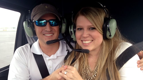 Couple poses on Helicopter tour