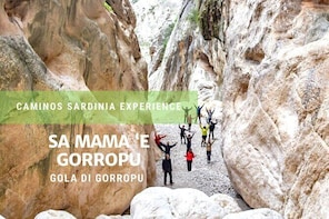 Family trekking in the Gorropu Canyon in Sardinia