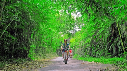 Female bike rider riding bike through forested area in Bali.