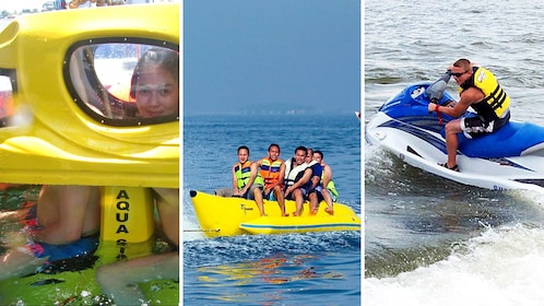 Combo image of Tandem Scooter, Banana boat and jet ski during activity in Bali