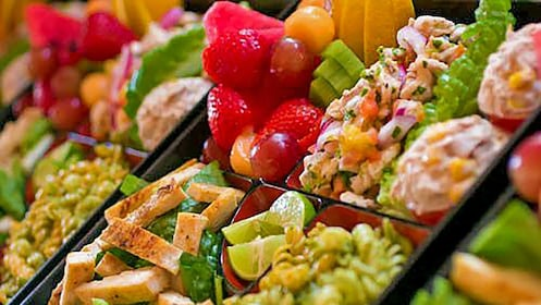 Dishes of salad and fresh fruit in Los Cabos