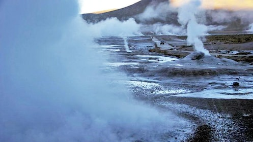 Steam rising from Geysers in Chile