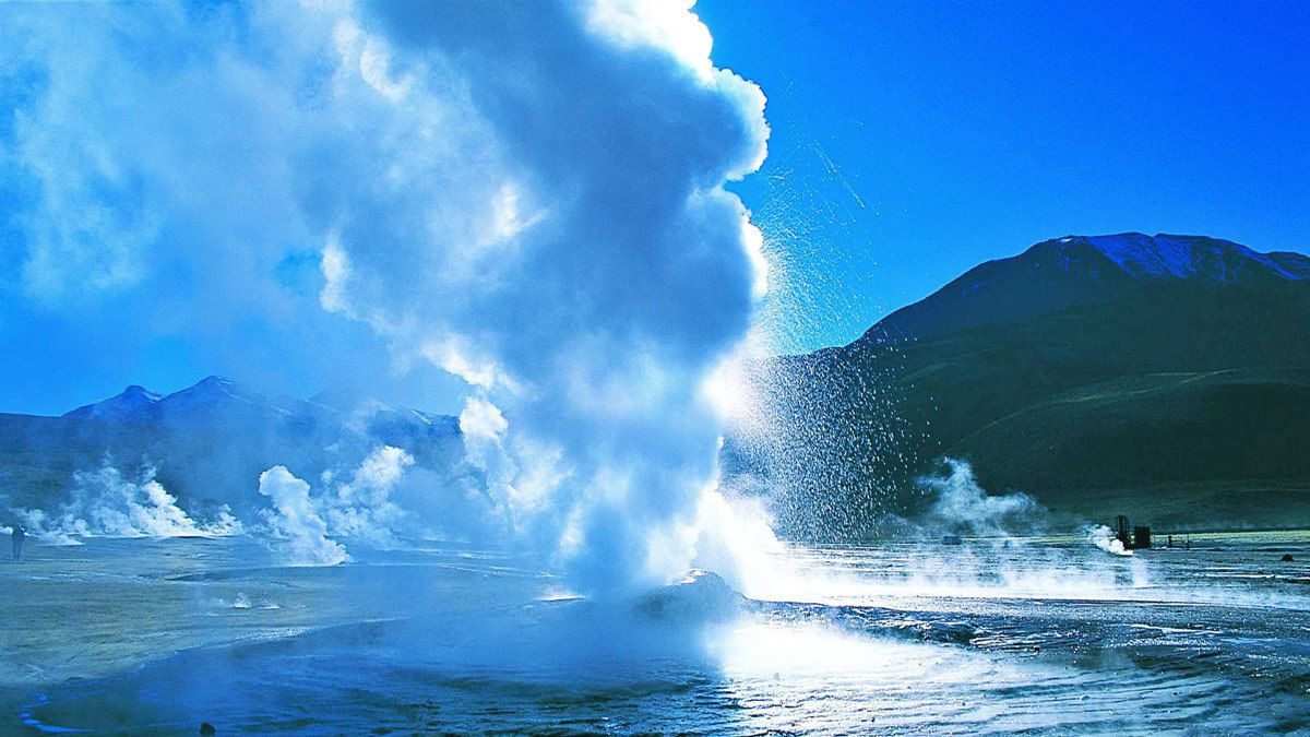 Geyser spewing steam and water in Chile