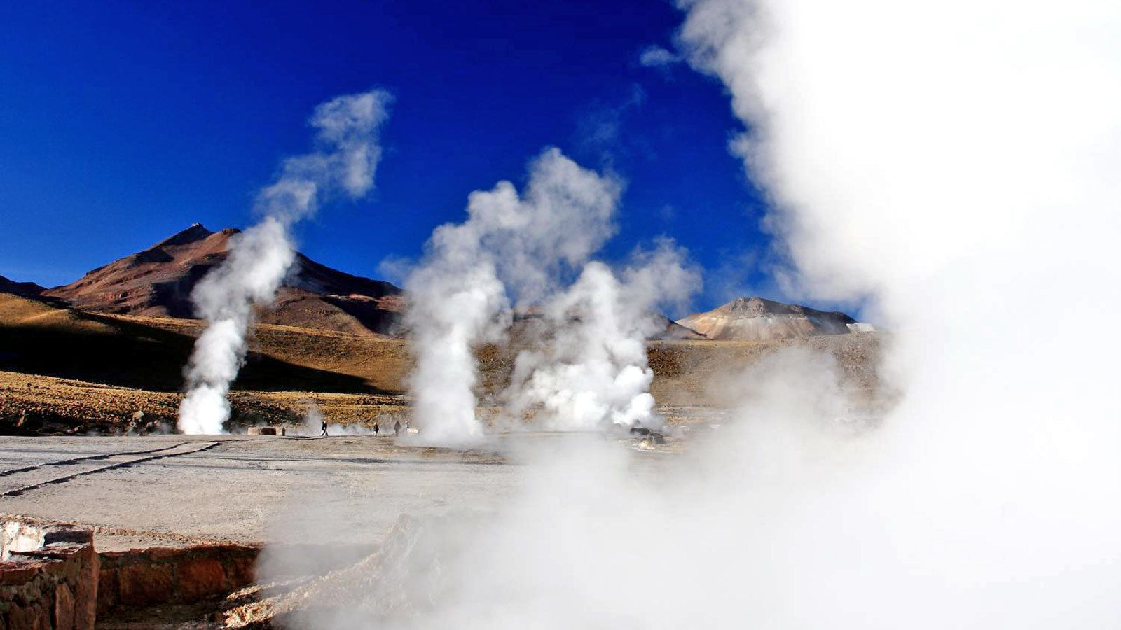 Steam billowing from multiple geysers in Chile