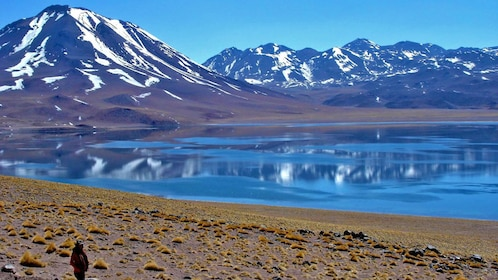 Calm lagoon at the base of snow-capped mountains in Chile
