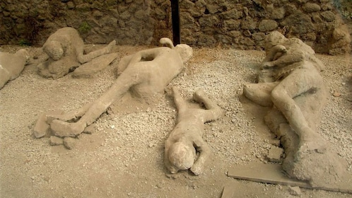 Plaster casts of victims of Pompeii