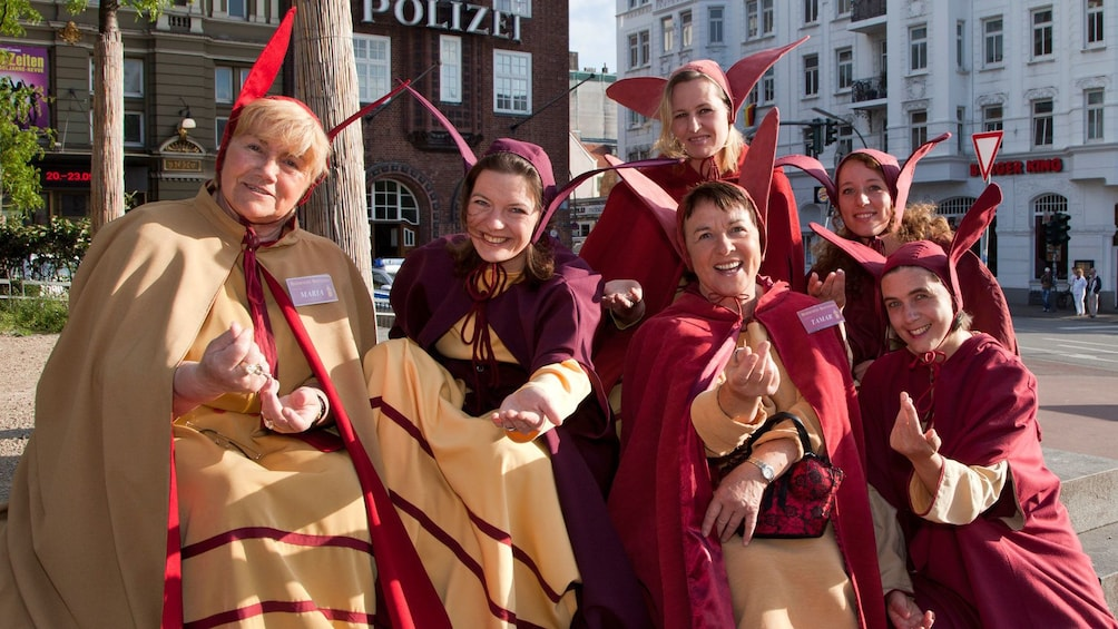 Group of women in historical costumes in Hamburg