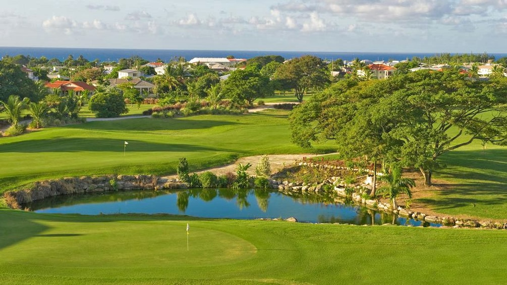 Golf course aerial view in barbados