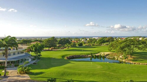 aerial view of club house and golf course in barbados