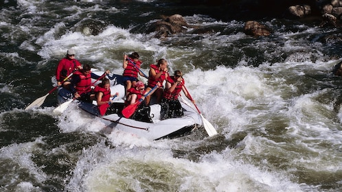 rafters getting soaked by the rapids in Kota Kinabalu