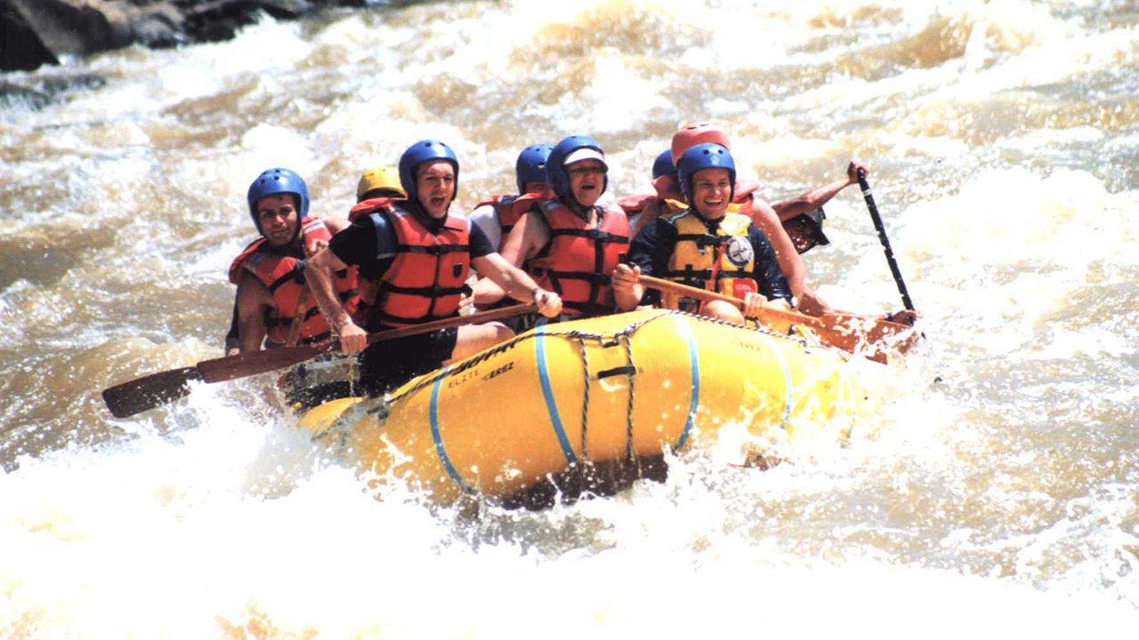 rafters in the strong rapids in Kota Kinabalu