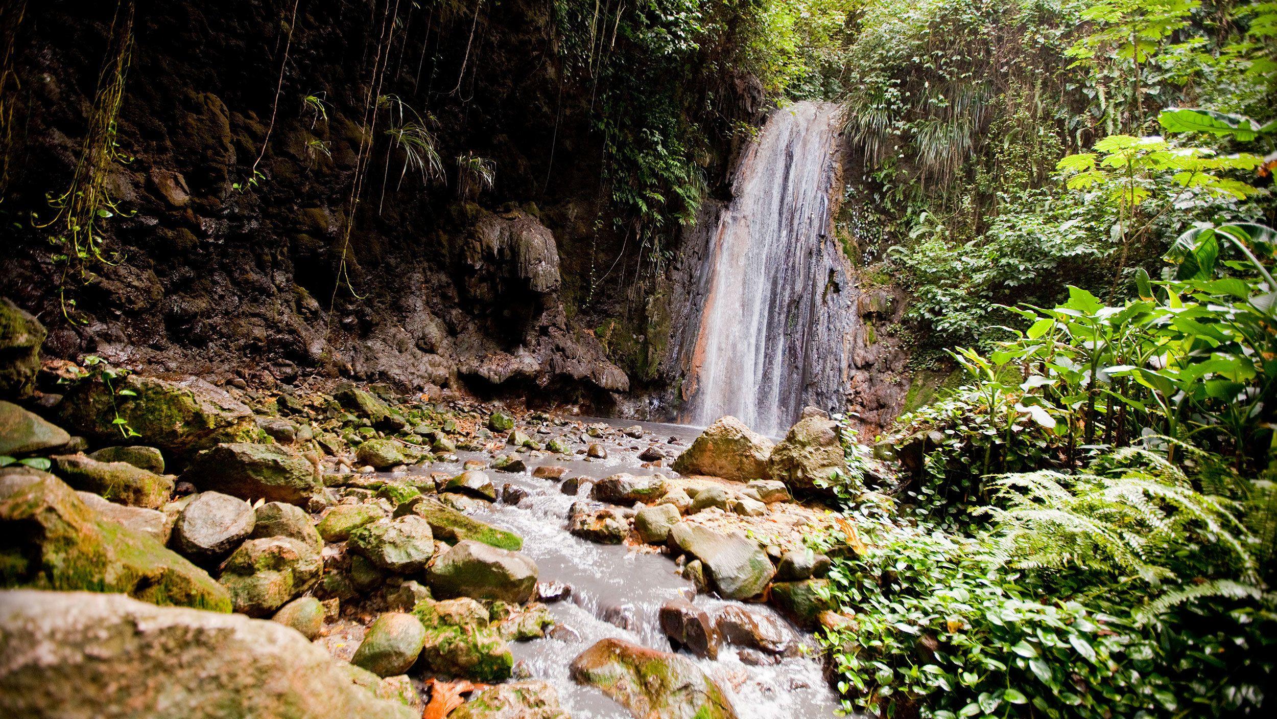 small waterfall in Saint Lucia